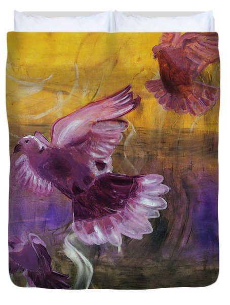 Trinity Of Contemporary Flying Dove Birds In Yellow Purple And Blue Duvet Cover