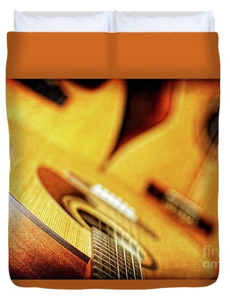Trio Of Acoustic Guitars Duvet Cover by Lincoln Rogers