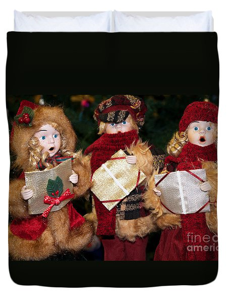 Duvet Cover featuring the photograph Trio Of Carolers by Vinnie Oakes
