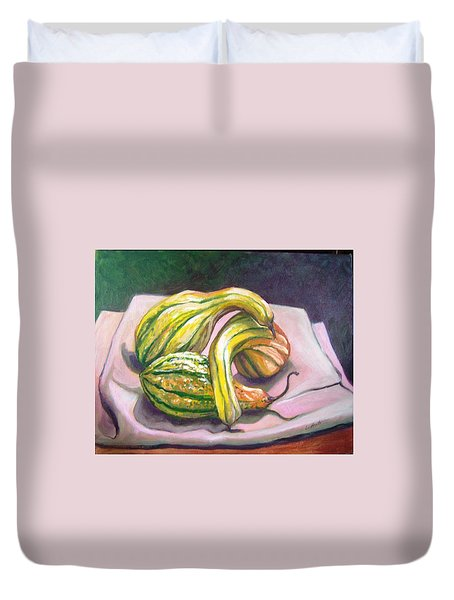 Duvet Cover featuring the painting Gourd Grouping by Laura Aceto