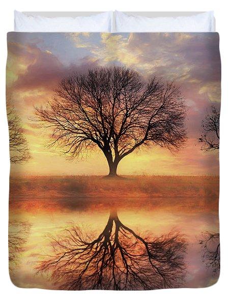 Trio Of Trees Duvet Cover by Lori Deiter