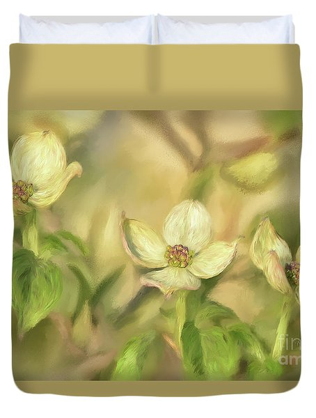 Duvet Cover featuring the digital art Triple Dogwood Blossoms In Evening Light by Lois Bryan