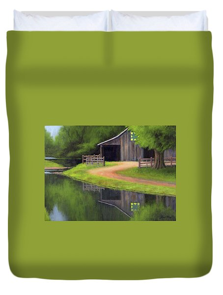 Duvet Cover featuring the painting Triple L Ranch  by Janet King