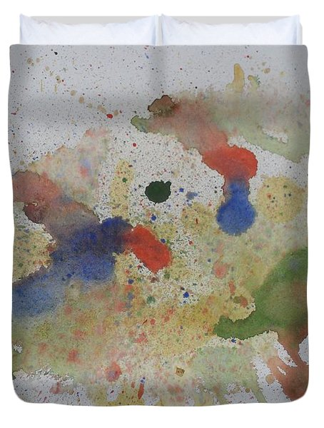 Duvet Cover featuring the painting Triple Rooster Race by Vicki  Housel