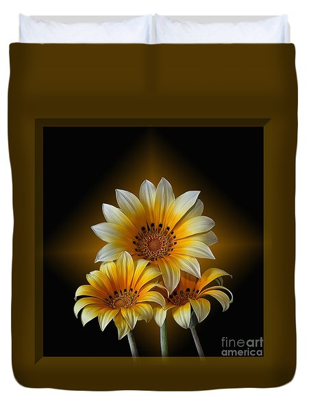 Triple Sunshine Black And Gold Duvet Cover