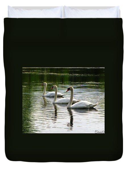 Triplet Swans Duvet Cover