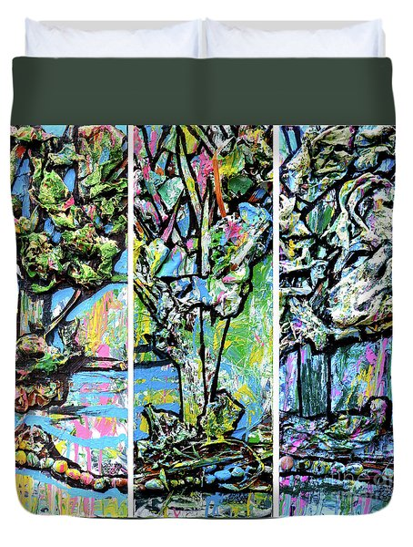 Duvet Cover featuring the painting Triptych Of Three Trees By A Brook by Genevieve Esson