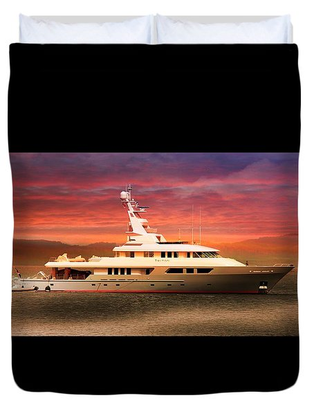 Duvet Cover featuring the photograph Triton Yacht by Aaron Berg