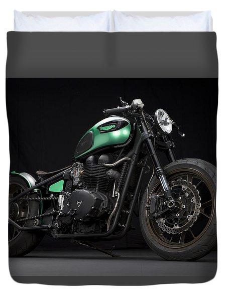 Triumph Green Bobber Duvet Cover