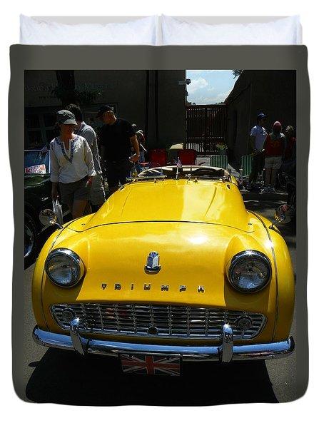 Triumph Yellow Car Duvet Cover