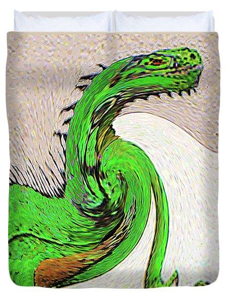 Duvet Cover featuring the digital art Triumphant Iguana by Merton Allen