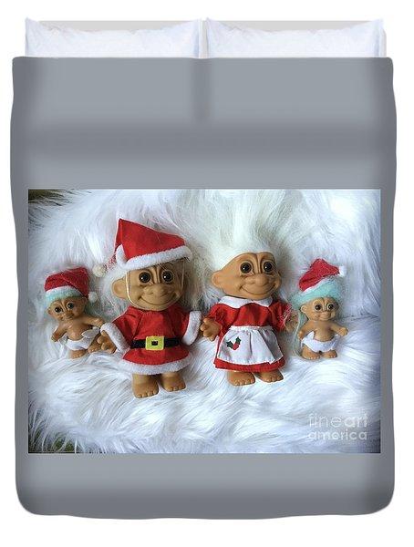 Troll Family Christmas 2015 Duvet Cover by Patricia E Sundik