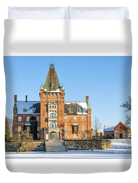 Trollenas Castle In Winter Duvet Cover