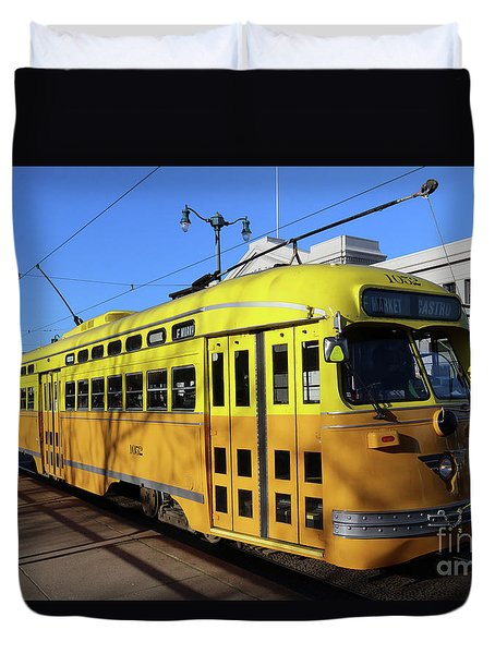 Duvet Cover featuring the photograph Trolley Number 1052 by Steven Spak