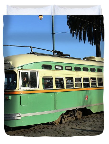 Duvet Cover featuring the photograph Trolley Number 1058 by Steven Spak