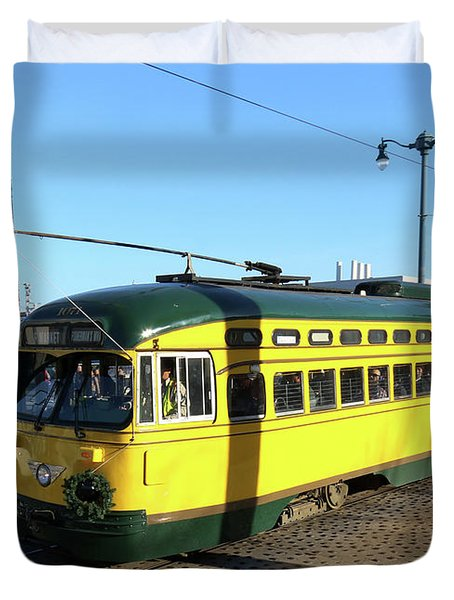 Duvet Cover featuring the photograph Trolley Number 1071 by Steven Spak
