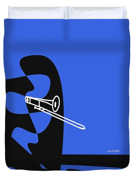 Trombone In Blue Duvet Cover