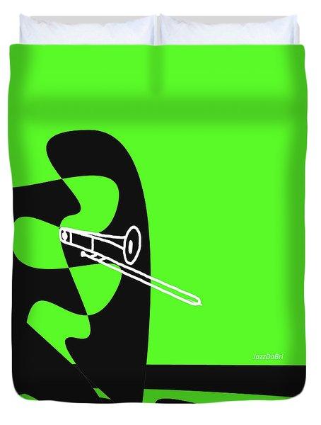 Trombone In Green Duvet Cover by David Bridburg