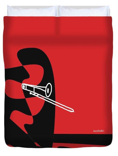 Trombone In Red Duvet Cover by David Bridburg