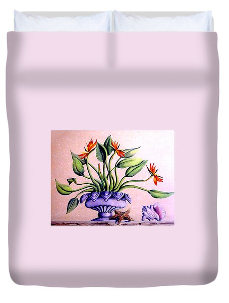 Trompe L'oeil  Birds Of Paradise Duvet Cover
