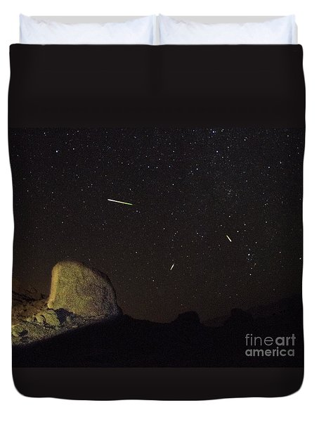 Trona Pinnacles Perseids Meteor Shower Duvet Cover