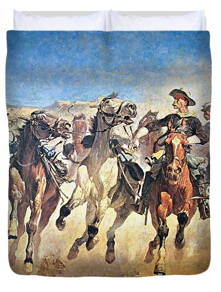 Troopers Moving Duvet Cover by Frederic Remington