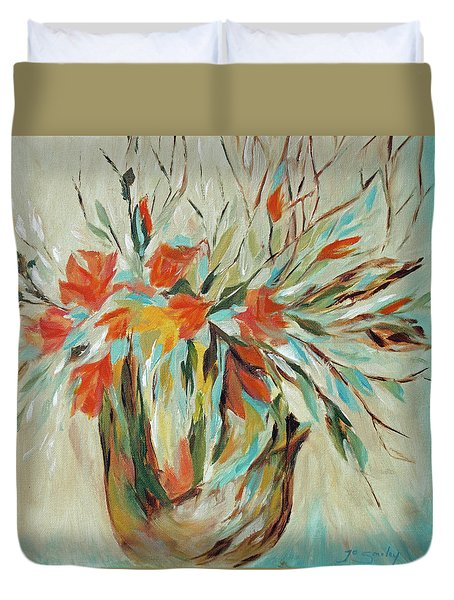 Duvet Cover featuring the painting Tropical Arrangement by Joanne Smoley