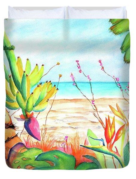 Tropical Beach Plants Ocean Front Duvet Cover