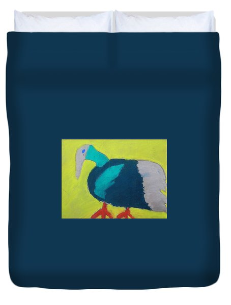 Duvet Cover featuring the pastel Tropical Bird by Artists With Autism Inc
