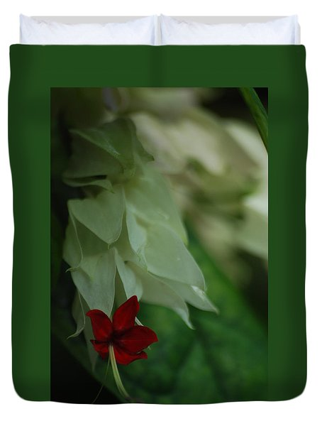 Duvet Cover featuring the photograph Tropical Bleeding Heart by Ramona Whiteaker