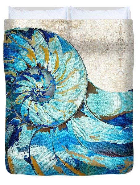 Tropical Blue Art - Nautilus Shell Bleu 2 - Sharon Cummings Duvet Cover