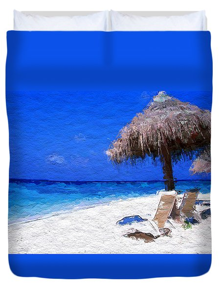 Tropical Blue Sky White Sandy Beach Duvet Cover by Anthony Fishburne