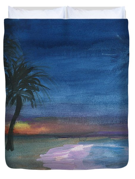 Duvet Cover featuring the painting Tropical Christmas by Donna Walsh