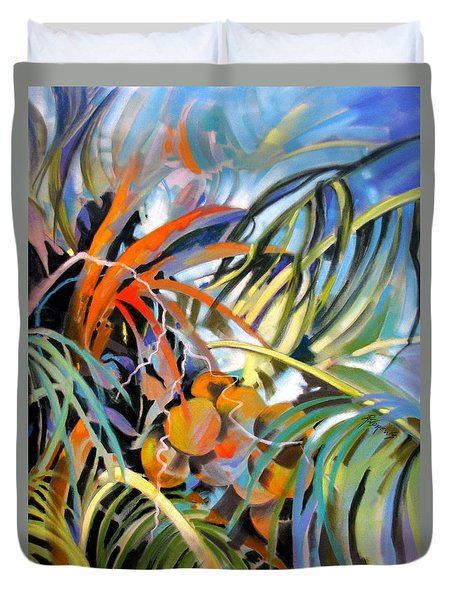 Duvet Cover featuring the painting Tropical Confusion by Rae Andrews