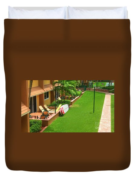 Tropical Courtyard Duvet Cover
