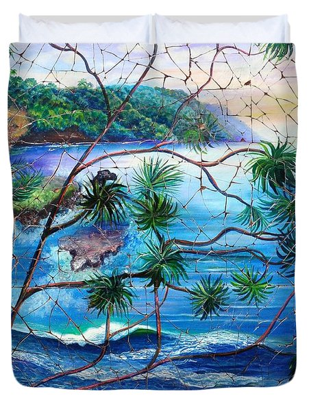 Tropical Cove  Fresco Triptych 2 Duvet Cover