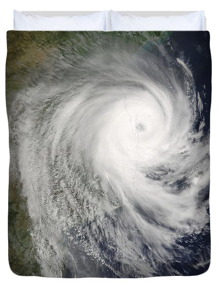 Tropical Cyclone Favio Over Mozambique Duvet Cover