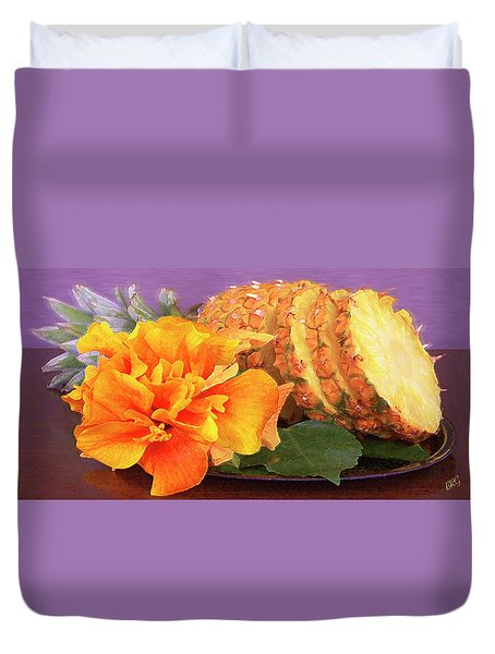Duvet Cover featuring the photograph Tropical Delight Still Life by Ben and Raisa Gertsberg