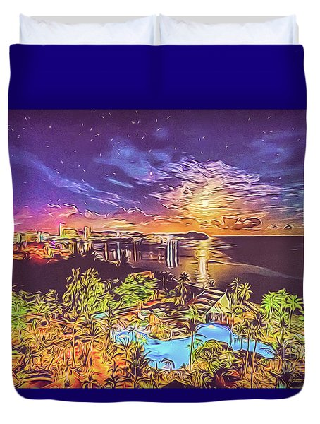 Duvet Cover featuring the digital art Tropical Dream by Ray Shiu