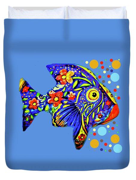 Duvet Cover featuring the digital art  Tropical Fish by Eleni Mac Synodinos