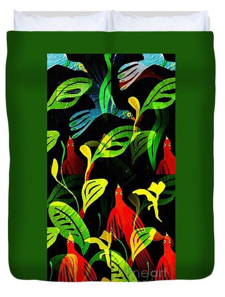 Tropical Flock Duvet Cover by Sarah Loft