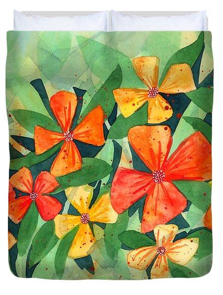 Tropical Flower Splash Duvet Cover