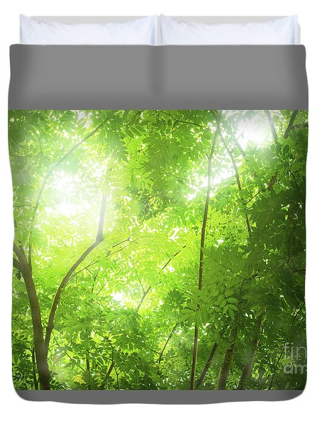 Tropical Forest Duvet Cover by Atiketta Sangasaeng