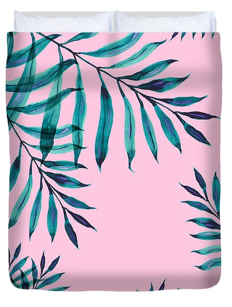 Tropical Greenery On Pink Duvet Cover
