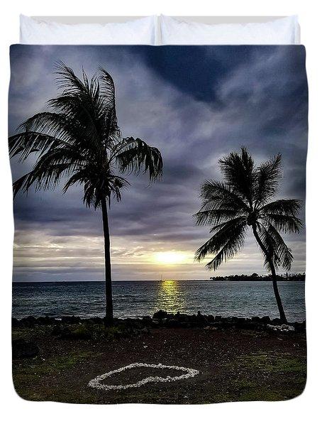 Duvet Cover featuring the photograph Tropical Hawaiian Sunset by Pamela Walton