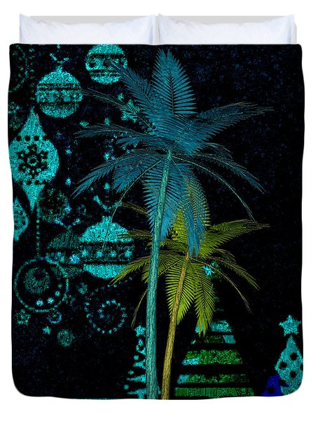 Duvet Cover featuring the digital art Tropical Holiday Blue by Megan Dirsa-DuBois