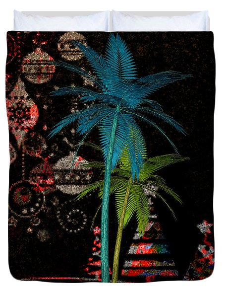Duvet Cover featuring the digital art Tropical Holiday Red by Megan Dirsa-DuBois