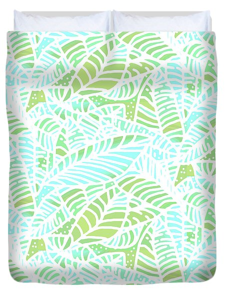 Tropical Lagoon Leaves Duvet Cover