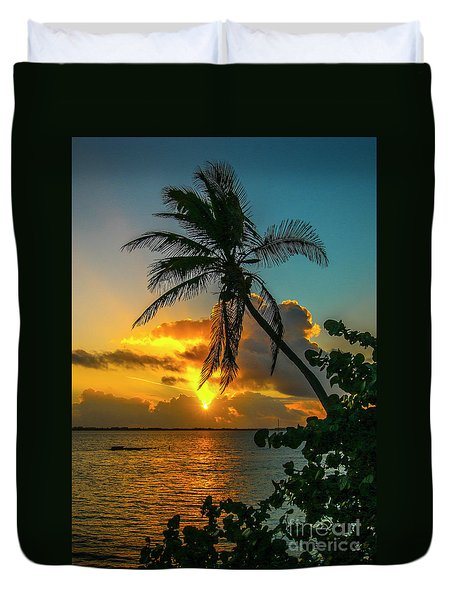 Tropical Lagoon Sunrise Duvet Cover