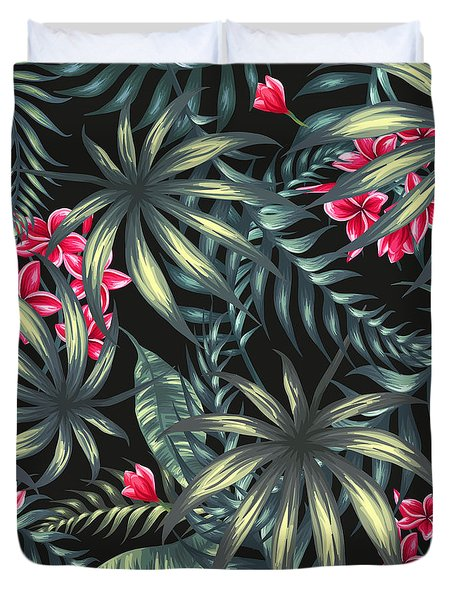 Tropical Leaf Pattern  Duvet Cover